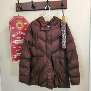 Winter coat w/hood Brown